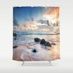 Frothy Seascape Sunset Shower Curtain