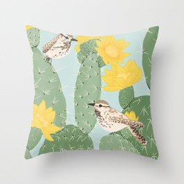 Prickly Pear with Wrens  Throw Pillow