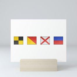 L  O  V  E - Navy Alphabet - Leather Mini Art Print