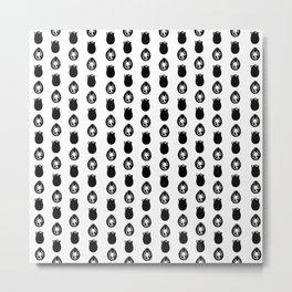 Alien Eggs Pattern White and Black Metal Print