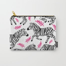 Zebra's with pink flowers Carry-All Pouch