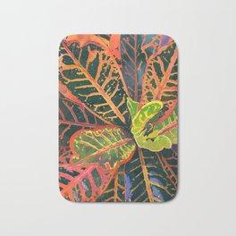 Coral Croton Tropical Plant Leaves   Modern Garden Art Print Bath Mat