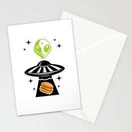 Alien Hamburger Ufo Alien Spaceship Space Stationery Cards
