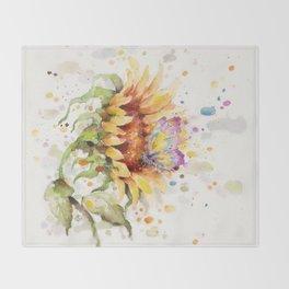 Hand In Hand (Butterfly & Sunflower) Throw Blanket
