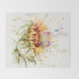 Hand In Hand (Butterfly & Sunflower) Throw Blanket