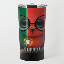 Baby Owl with Glasses and Portuguese Flag Travel Mug