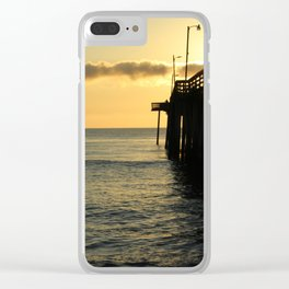 Yellow Sunrise at the Pier Clear iPhone Case