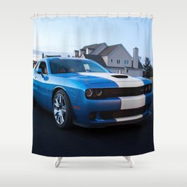 B5 Petty Blue with white stripes Challenger Scat pack Hellcat Shower Curtain