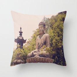 Seated Bronze Buddha Throw Pillow
