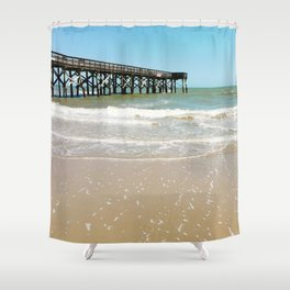Turquoise Pier Shower Curtain