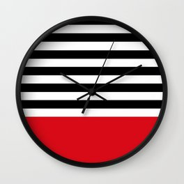Rouge Rayures Wall Clock