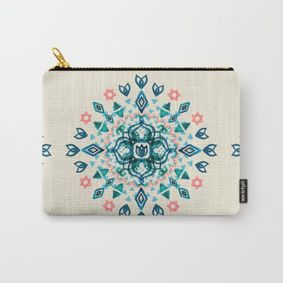 Watercolor Lotus Mandala in Teal & Salmon Pink Carry-All Pouch