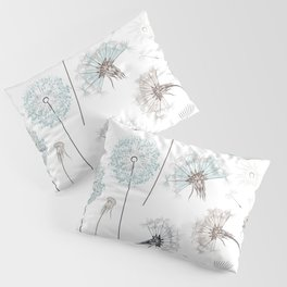 Hand drawn vector dandelions in rustic style Pillow Sham