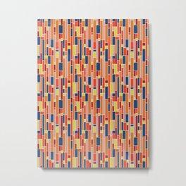 Retro Mid Century Multicoloured Orange Tiled Geometric Pattern Metal Print