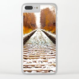 Autumn Forest Train Tracks Clear iPhone Case