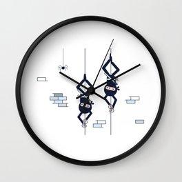 Two Hanging Ninjas Wall Clock