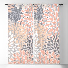 Flowers Abstract Print, Coral, Peach, Gray Blackout Curtain