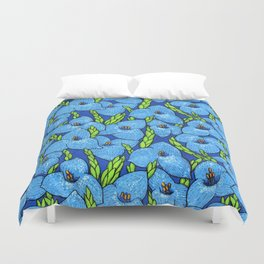 Blue Puya Flowers Botanical Floral Pattern Duvet Cover