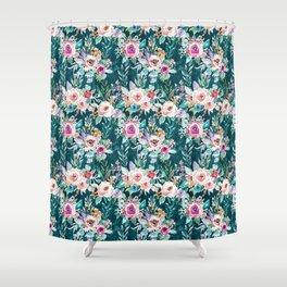 EFFUSIVE FLORAL Dark & Colorful Boho Pattern Shower Curtain