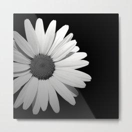 Black & White Half Flower Metal Print