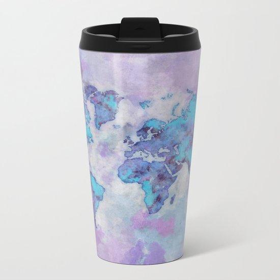 World Map Purple Metal Travel Mug
