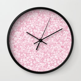 Flower doodle in rose Wall Clock