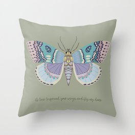 It's time to fly! - gouache and pencil hand drawn butterfly art. Throw Pillow