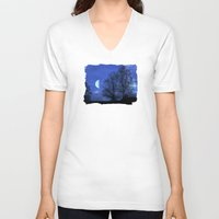 kindle V-neck T-shirts featuring Moon between Trees  - JUSTART © by JUSTART