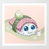 sushi Art Prints featuring Sushi by sw4mp rat