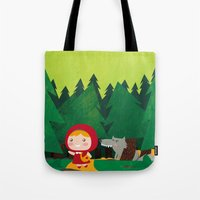 red hood Tote Bags featuring Little Red Riding Hood by parisian samurai studio