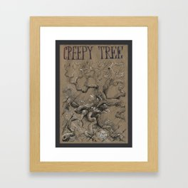 Creepy Tree (DRAWLLOWEEN 18/31) Framed Art Print