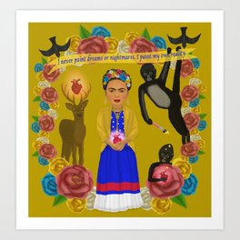 Frida Kahlo Tribute Yellow Art Print