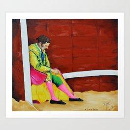 The Sad Bullfighter El Torero Triste Oleo Original sobre Lienzo Juan Manuel Rocha Kinkin Art Print