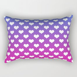 Vibrant Blue, Purple & Pink Gradient With White Hearts Rectangular Pillow