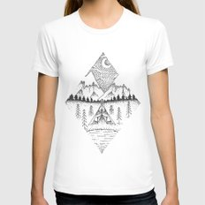 Mountain Camping SMALL Womens Fitted Tee White