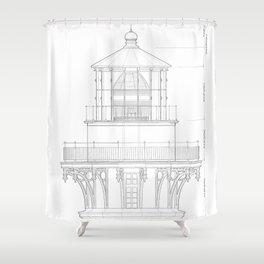 Vintage Bodie Island Lighthouse Blueprint Shower Curtain