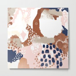 Skadi - metallic painting abstract minimal nursery home decor dorm college art Metal Print