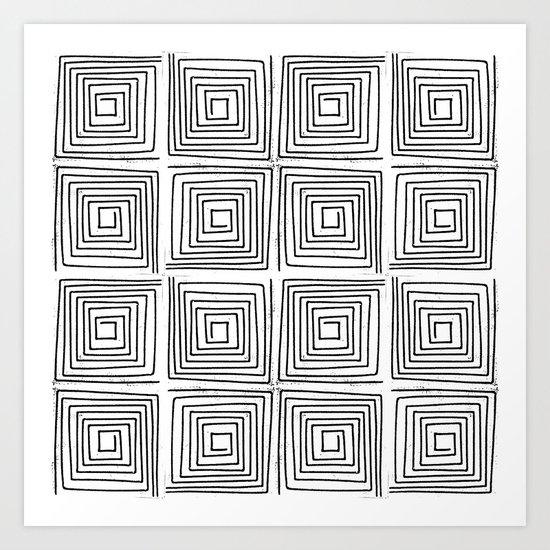 Minimal linocut printmaking geometric square maze pattern scandinavian minimalist Art Print