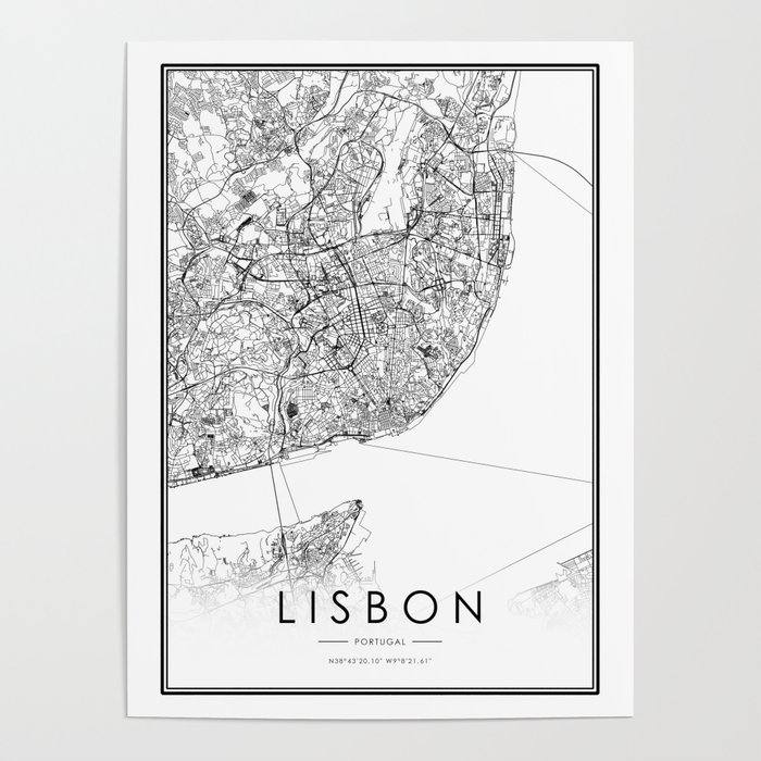 Lisbon City Map Portugal White and Black Poster by victorialyu on blank map of washington, blank map of rome, blank map of sydney, blank map of caribbean sea, blank map of cape town, blank map of oahu, blank map of mexico city, blank map of buenos aires, blank map of san francisco, blank map of cozumel, blank map of singapore, blank map of athens, blank map of english channel, blank map of madrid, blank map of la paz, blank map of new england, blank map of northern italy, blank map of macau, blank map of portugal,
