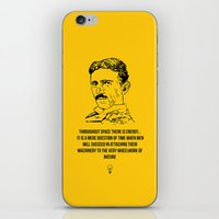 tesla iPhone & iPod Skins featuring Tesla Quote  by Purshue