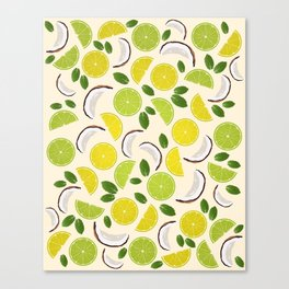 Lime Lemon Coconut Mint pattern Canvas Print
