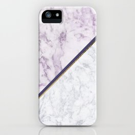 Lavender white faux gold abstract geometric marble iPhone Case