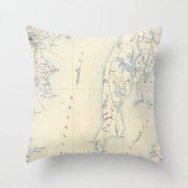 Vintage Annapolis MD & Chesapeake Bay Map (1902) Throw Pillow