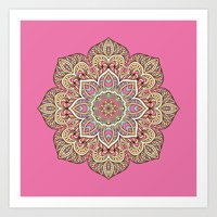 islam Art Prints featuring Pink Mandala by Mantra Mandala