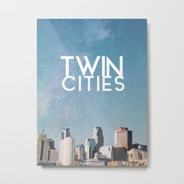 Twin Cities Skylines and Stars-Minneapolis and Saint Paul Minnesota Night Metal Print