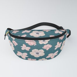 Hawaiian Tropical Flower Pattern - Pink and Teal Fanny Pack