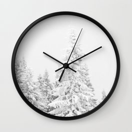 Chairlift Abyss // Black and White Chair Lift Ride to the Top Colorado Mountain Artwork Art Print Wall Clock