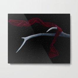 Deer Horn Red Scarf Metal Print
