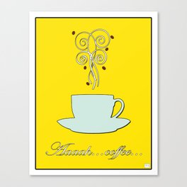 Aaah...coffee...  Retro / Vintage Coffee Print on Hello Sunshine Background Canvas Print