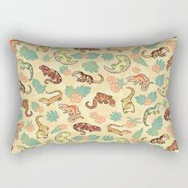 Gecko family in yellow Rectangular Pillow